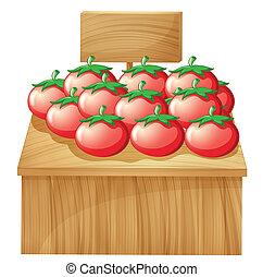 pomodoro, legno, cartello, stare in piedi, vuoto
