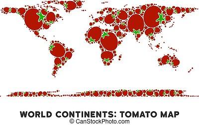pomodoro, mappa, composizione, continente, mondo
