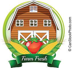 pomodoro, marrone, barnhouse, fattoria, etichetta, fresco, mais