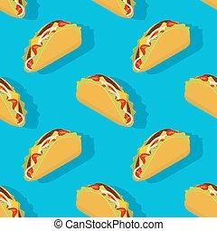 pomodoro, meat., fondo., tortilla, cibo, taco, struttura, fresco, granaglie, digiuno, tradizionale, arco, seamless, ornament., messicano, pattern.