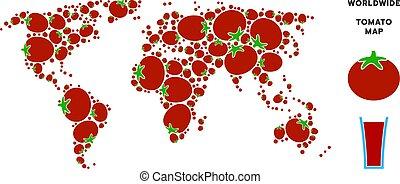 pomodoro, mondo, composizione, mappa