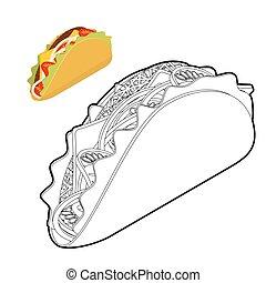 pomodoro, onion., coloritura, messicano, lineare, cibo, book., tradizionale, taco, fresco, tortilla scheggia, style., carne