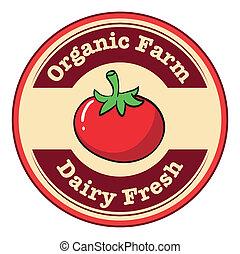 pomodoro, organico, fattoria, etichetta, latteria, fresco