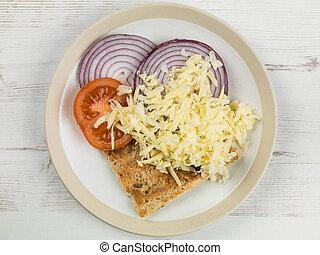 pomodoro, panino formaggio, cipolla, aperto, tostato