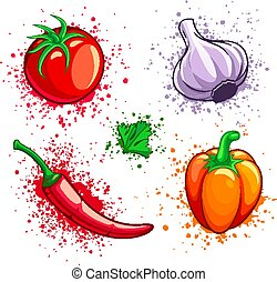pomodoro, pepe, set, ciliegia, verdura, aglio, fresco, peperoncino