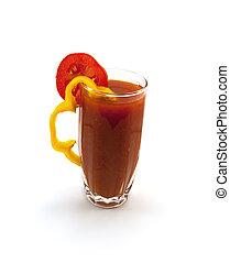 pomodoro, pepe, vetro, alto, succo, segmento
