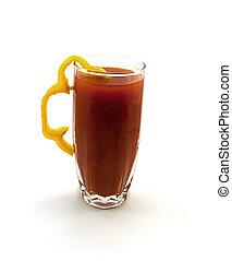 pomodoro, pepe, vetro, giallo, uno, succo, segmento