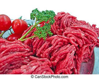 pomodoro, piastra, carne, fresco