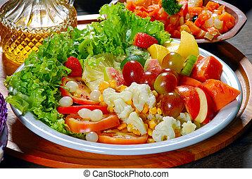 pomodoro, piastra, lattuga, insalata, verdura, frutte