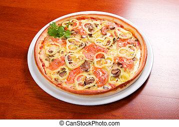 pomodoro, pizza, su, piastra.