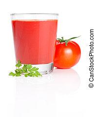 pomodoro, prezzemolo, isolato, succo, fondo, bianco