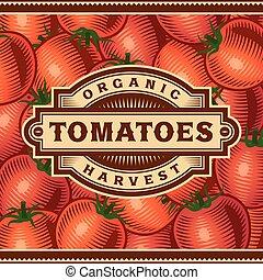 pomodoro, raccogliere, retro, etichetta