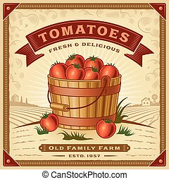 pomodoro, raccogliere, retro, paesaggio, etichetta