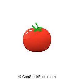 pomodoro, semplice, isolato, cartone animato, illustrazione...