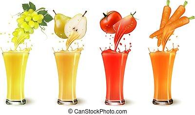 pomodoro, set, succo, schizzo, vettore, pera, frutta, vetro., uva, carot.