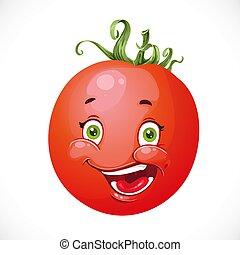 pomodoro, sorridente, isolato, fondo, bianco, cartone animato, rosso