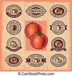 pomodoro, vendemmia, francobolli, set