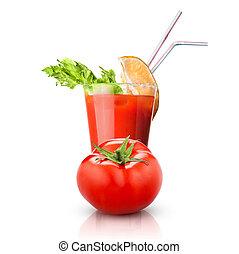 pomodoro, vetro, isolato, rosso, succo