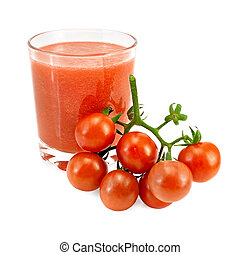 pomodoro, vetro, mazzo, pomodori, succo
