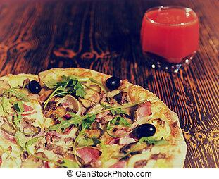 pomodoro, vetro, su, succo, chiudere, pizza