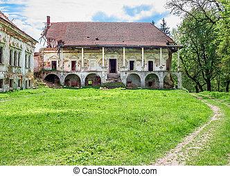 pomoriany, slott, a, förstörd, slott, in, den, by, av, pomoriany, ukraina