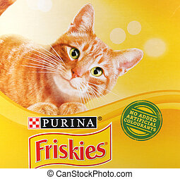 Pomorie, Bulgaria - January 05, 2020: Friskies is a brand of wet and dry cat food and treats. It is owned by Nestlé Purina PetCare Company, a subsidiary of Nestlé global.