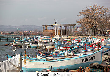Pomorie, Bulgaria - March 03, 2020: Fishing Boats At The Harbor.