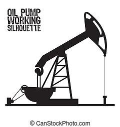 pomp, olie, silhouette