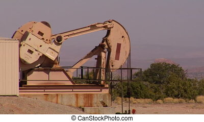 pomp, olie, woestijn, rode rots
