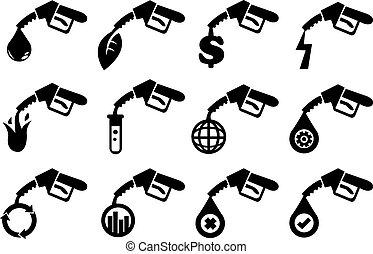 pompa benzina, vettore, icone
