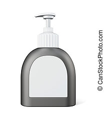 pompa, bottiglia, isolato, 3d, interpretazione, bianco, fondo.