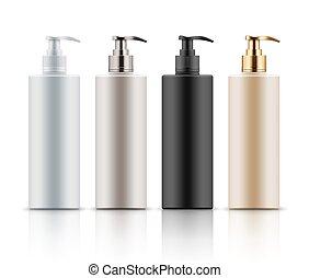 pompa, bottiglie plastica, dispenser.