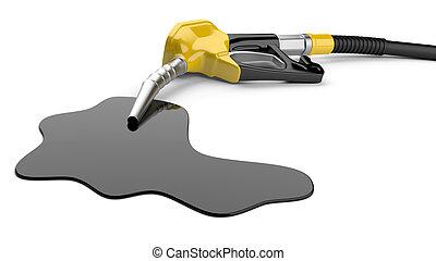 pompa carburante, ugello, e, stagno, di, olio