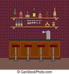 pompa, fondo, bianco, illustrazione, faucet., sbarra, mattone, occhiali, vuoto, birra, liquido, mensola, rum, vino, interno, parete, bibite, vettore, contatore, tequila., alcolico, isolato, marrone