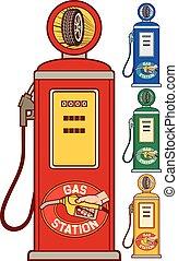 pompa, (gas, benzina, retro, station)