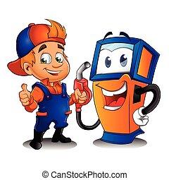 pompa, gas, tecnico di assistenza
