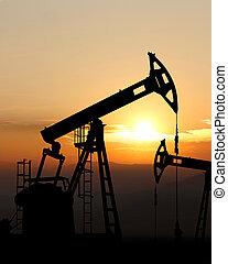 pompa, olio, silhouette, cricco
