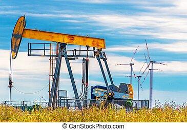 pompa, olio, turbine, vento