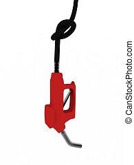 pompa, wąż gumowy, benzyna, węzeł