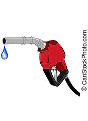 pompe, essence, lance, rouges