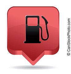 pompe gaz, rouges, icône