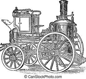 pompe incendie, gravure, vendange, vapeur