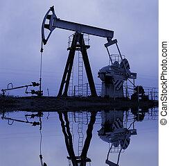 pompe, industriel, reflectio, huile