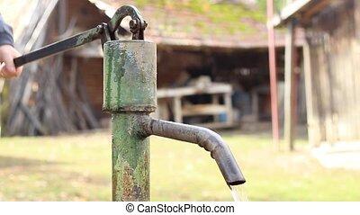 pompe, mécanique, eau