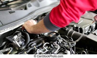 pompe, réparation, 02, voiture, vide