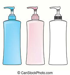 pompe, vecteur, bouteille, plastique