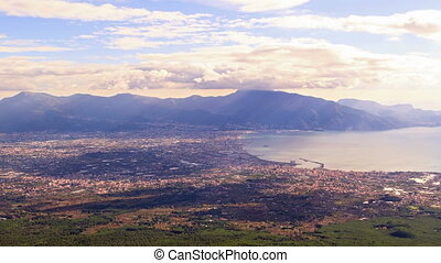 Pompei Valley, view from Mount Vesuvius. Italy. 4K - Pompei...