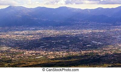 Pompei Valley, view from Mount Vesuvius. Italy