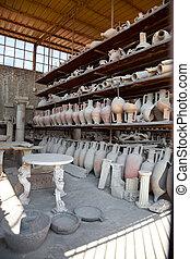 Pompeii antique pottery jugs