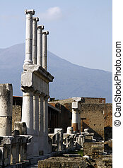 View of the ruins of the archeological Pompeii site, located near Naples, Italy.